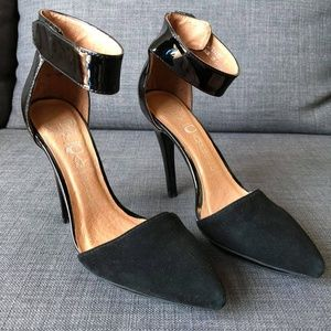 Jeffrey Campbell Solitaire Black Suede Ankle-Strap